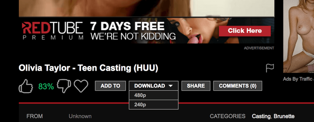 Downloading porn from Redtube.com